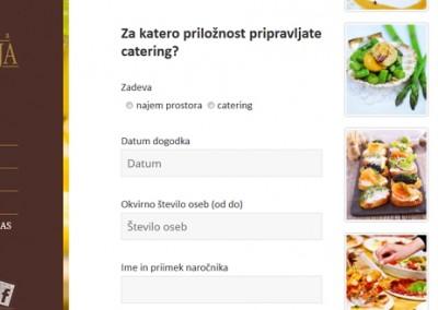 Sprejemanje naročila za catering prek obrazca