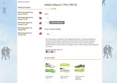 Spletna stran, kjer je opis produkta. Nad izdelkom je napisano, kje se uporabnik nahaja.