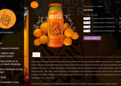 Stran za produkt Bio kokosova voda King cocnut