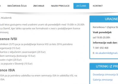Spletna stran za člane, kjer so vidne uradne ure